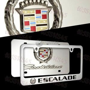 Cadillac ESCALADE Logo Stainless Steel License Plate Frame - 2PCS Front & Back