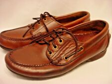 H.H. BROWN LEATHER LACE UP FLAT MOCS HAND SEWN LADIES SIZE 8 M