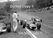 Graham Hill & Jo Siffert Lotus 49's French Grand Prix 1968 Photograph 2