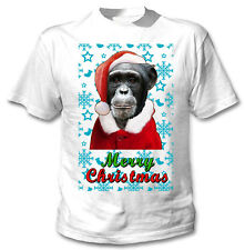 Monkey Santa snow - COTTON WHITE TSHIRT