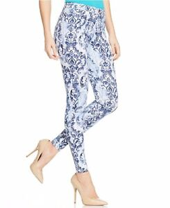 NWT Women's Hue Scroll Print Super Smooth Denim Jean Legging Blue and White