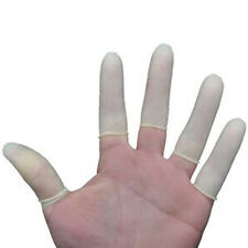 100pc Rubber Latex Fingertip White Finger Cots Nail Protection G3