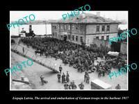 OLD POSTCARD SIZE MILITARY PHOTO WWI LIEPAJA LATVIA GERMAN TROOPS ARRIVE 1917