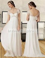Chiffon Empire Maternity Pregnancy Short Sleeve V-Neck Wedding Dress Bridal Gown