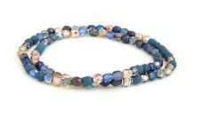 Armband Blautöne, Perlenarmband, eine Perle silber Hippie, Buddha, Boho Look