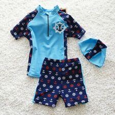 Swimming Costume Boys Swimwear 2/pcs Swim Suits For Beach Clothing Cap Children