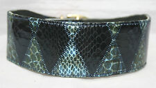 """Lined Leather & Snakeskin Large Lurcher Dog Collar, holes fitted at 16-18.5"""""""