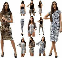 Womens Tiger Snake Print Bodycon Midi Dress Bodysuit Ladies Zebra Leggings Skirt