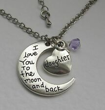 "DAUGHTER SILVER ENGRAVED MOON PENDANT WITH CRYSTAL BEAD ON A 24"" CHAIN"
