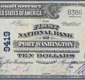 1902 $10  ♚♚ PORT WASHINGTON,WISCONSIN ♚♚    PCGS  VF 25 PPQ     RARE NOTE!!!