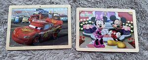 Set of 2 Disney Preschool Wooden Puzzles ( Lighting McQueen & Mickey Mouse)