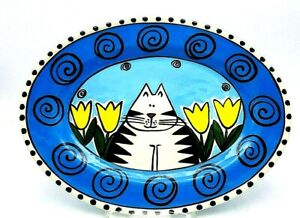 "Catfish Moon Studio Pottery Ceramic Cat W/Tulip Centerpiece 11.5"" Platter Canada"