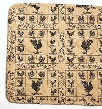 "CHICKENS Black on Tan Quilted Cotton 14"" x 36"" Table Runner"