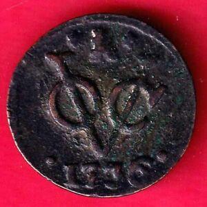 DUTCH EAST INDIAN COMPANY 1736 VOC DUIT SCARCE COPPER COIN  #Q101