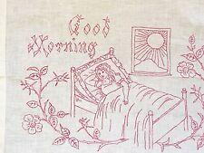 Vintage REDWORK GOOD MORNING Girl Flowers  Embroidered Pillowcase SHAM *Sweet