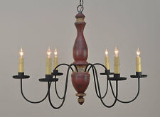 Country 6-Arm Wooden Chandelier in Primitive Barn Red | Stockbridge Light