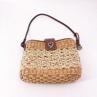 Brighton Straw Basket Weave Leather Trimmed Handbag Purse One Strap Size Small