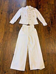 1970's Handmade Women's White Pant Suit Set Jacket Pants XS Small High Rise
