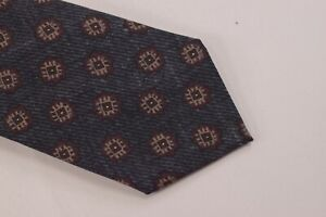 Canali NWT Neck Tie In Gray/Black With Burgundy & Tan Medallions 100% Wool