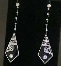 Antique Art Deco Platinum VS .90CT diamond & onyx drop dangle earrings