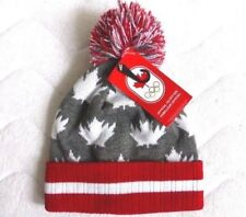 2018 TEAM CANADA WINTER OLYMPICS Grey Red Maple Leaf OFFICIAL BOBBLE HAT Beanie