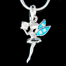 w Swarovski Crystal ~Blue Tinker Bell TINKERBELL Magic Ball Angel Fairy Necklace
