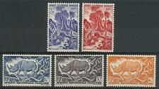 French Equatorial Africa 1946 Sc# 166-70 Rhinoceros Rock python Jungle scene MNH