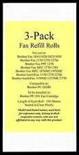 3-pack Refill Rolls for your Brother MFC 1770 1780 1870MC 1970MC Fax Cartridge