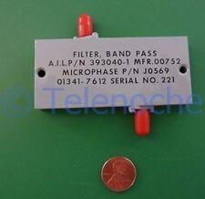 RF IF microwave bandpass filter 3.000 GHz, 1096 MHz BW data, power 5 Watt CW