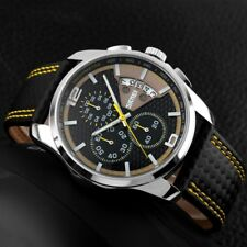 SKMEI Mens Leather Waterproof Sport Watches Luxury Date Quartz Chronograph Watch