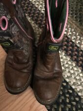 Girls 'John Deer' Boots Sz.3M-Camouflage With Pink Stitching