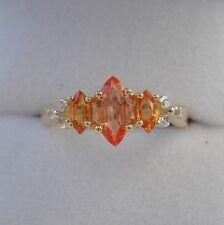 Certified dello Sri Lanka Padparadscha Zaffiro & Arancione Anello d'oro