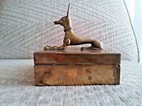 Egyptian Dog Jewelry Box of Ancient ANUBIS God of the Dead Vintage Brass Unique