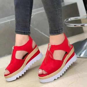 Ladies Sandals Platform Wedge High Heels Open Toe Ankle Strap Espadrilles Shoes