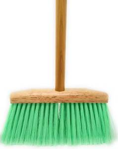 Light Green Feather Tip Broom with Natural Finish Wood Handle