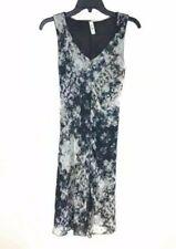 Deca Paris Dress T2 Navy Blue Gray Purple Sleeveless V Neck Tie Back A Line US 6