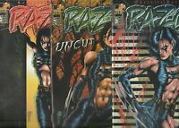 RAZOR 9 COMIC BOOK LOT ALL FPLUS TO NM  SEE SCANS  BAD GIRL +2 CARDS