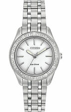 Citizen Carina 24 Diamonds Silver Dial Silver Tone Women's Watch EM0240-56A SD