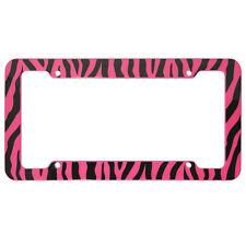 UAA® 1 ZEBRA PRINT Pink/Black Plastic License Plate Frame for car truck suv van