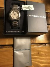 BNIB Womens Caravelle by Bulova Watch Arabic Dial Silver Polished Luminous Hands