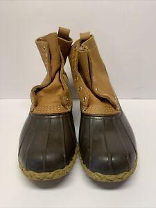 "Vintage LL Bean Men's 6"" Rubber Duck Brown Waterproof Boots, Size 11 M"