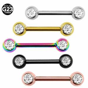 CUTE Nipple Bars | G23 Titanium Nipple Piercing Bar Gem Tongue Rings Jewellery
