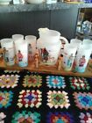 Knox Oil OKLAHOMA INDIAN GLASS TEA SET w/8 glasses and pitcher, promotional item