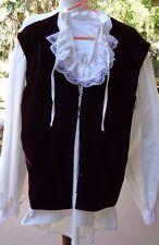 2 Pc Medieval/Renaissance Man w/Lacey LS Shirt, Jabot Neckline, Dark Red Vest