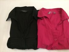 2x Dorothy Perkins Ladies Short Sleeve Shirts Size 10 Pink Black Work Smart