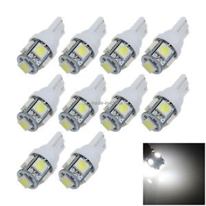 10x White Auto T10 W5W Wedge Light Parking Bulb 5 5050 SMD LED 657 1250 1251 A00
