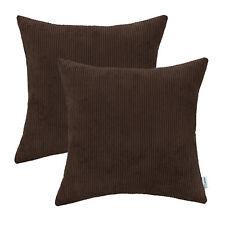 "2Pcs Coffee Cushion Covers Shells Home Decor Comfortable Corduroy Stripes 18x18"""