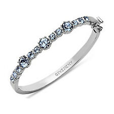 Givenchy Silver-Tone Blue Crystal Stone Hinged Bangle Bracelet NWT MSRP $58