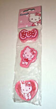 HELLO KITTY 3 ERASERS Pink with White Polka HEARTS ROSES WREATH Pencil Rubbers