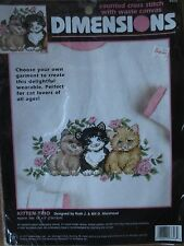 nip DIMENSIONS 3848 KITTEN CAT TRIO wearable counted cross stitch kit SEALED